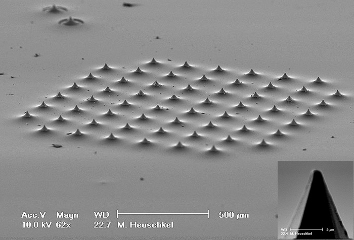 3D microelectrode array - SEM (MicroElectrodeDevices.com)